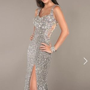Jovani Iridescent Crystal & Silver Sequin Gown